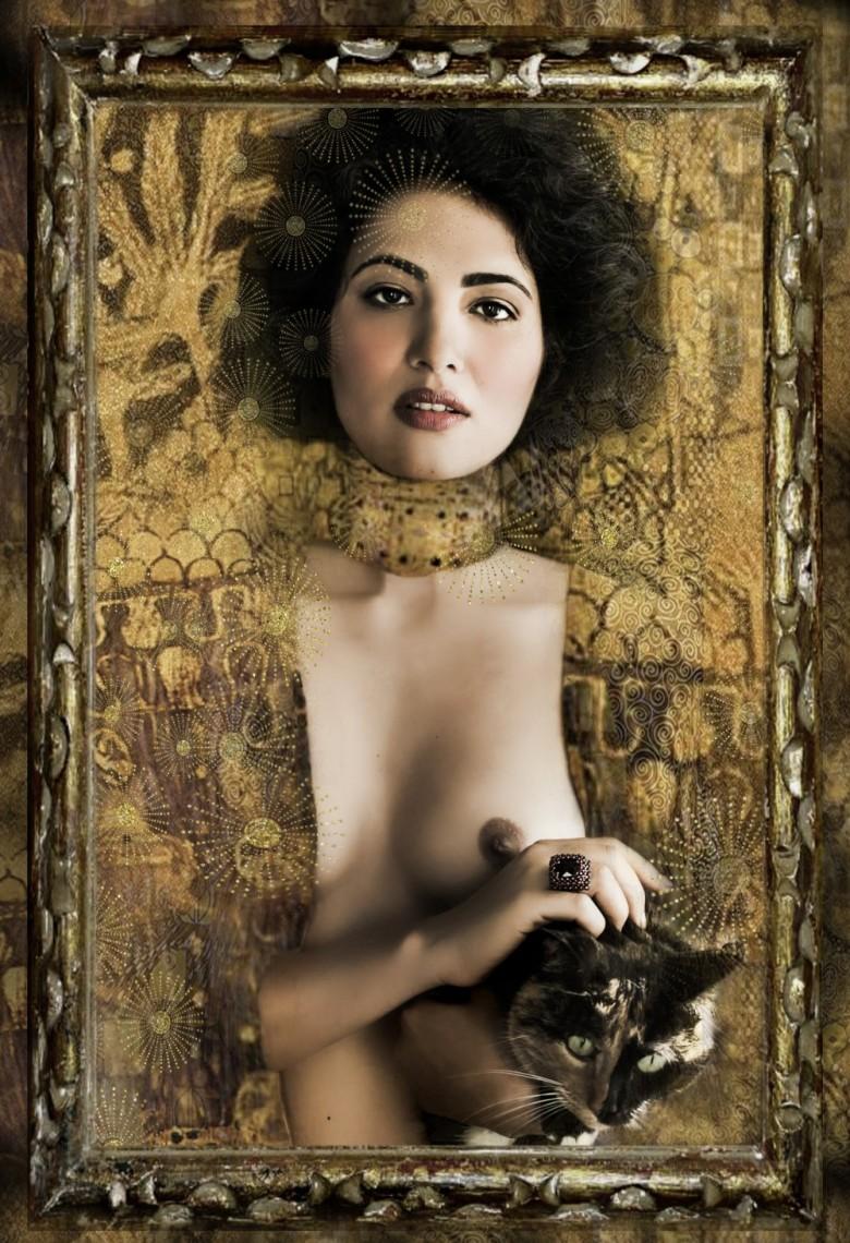 MY HOMAGE TO KLIMT jewellery LOUISE LASSAY / photography DONATELLA PARISINI / mua KIRSTEN EARL / model ROHINI DRURY and MECINA the cat