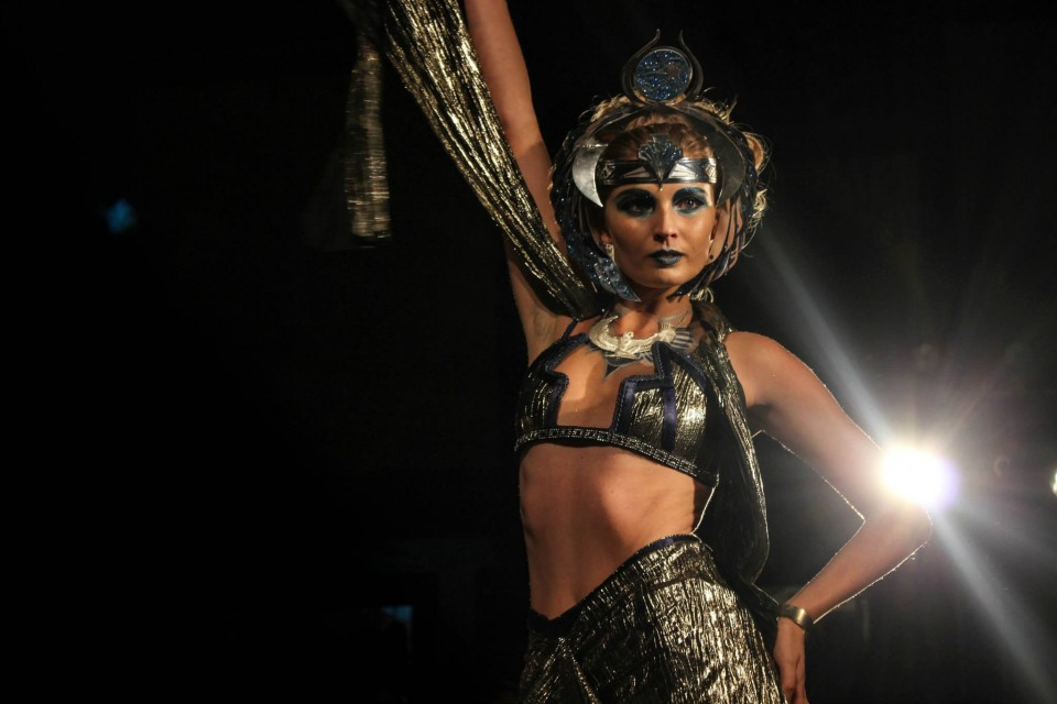 ISIS on the catwalk of The Byron Bay International Fashion Festival for Eye Of Horus Cosmetics photography ELEGANT SOLUTIONS PHOTOGRAPHY / mua & head piece ELVIS SCHOULIANOFF / costume & wings LOUISE LASSAY / model KAIT PROVAN
